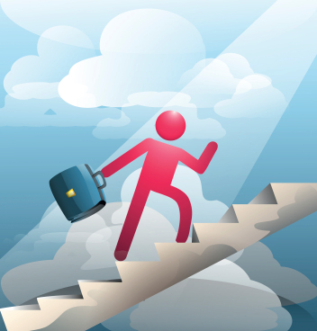 vector image of a businessman climbing ladder of success